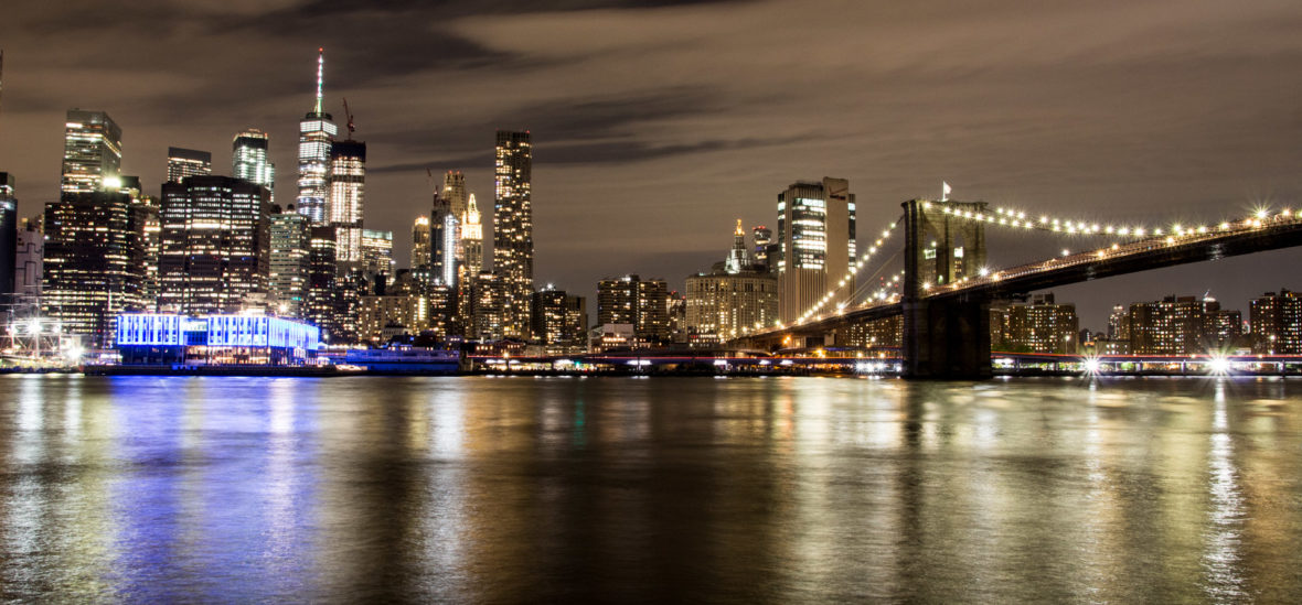 skyline nocture new york depuis brooklyn park