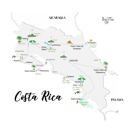 Itinéraire recommandé Costa Rica - lespiedsdanslevide
